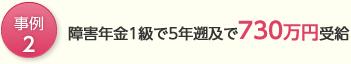 事例2, 障害年金1級で5年遡及で730万円受給